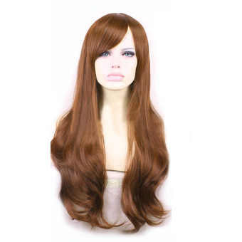 YBC Women Long Wave Wigs Synthetic Full Lace Cosplay Wigs(Light Coffee)