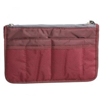YBC Women Nylon Cosmetic Makeup Bag Organizer Storage Bag PouchHolder Wine Red - 3