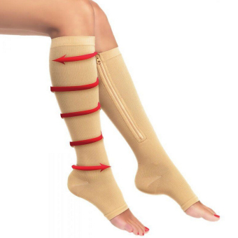 Zipper Compression Socks Zip Leg Support Knee Stockings Sox Open Toe S/M Beige C583 Price Philippines