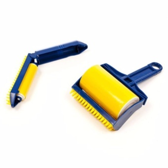 Zover Hair Lint 2-piece Set Reusable Sticky Picker Cleaner LintRoller Pet Hair Remover Brush (Yellow/Blue)