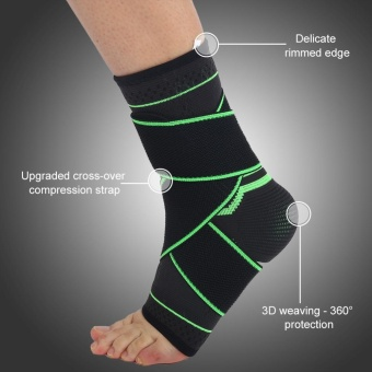 1 Pair Exercise Sports 3D Weaving Ankle Brace Wrap Support Strap Unisex (M) - intl