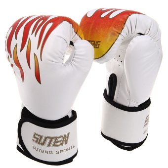 1 Pair Suten Sparring Muay Thai Grappling Fire Pattern Kick Boxing Gloves
