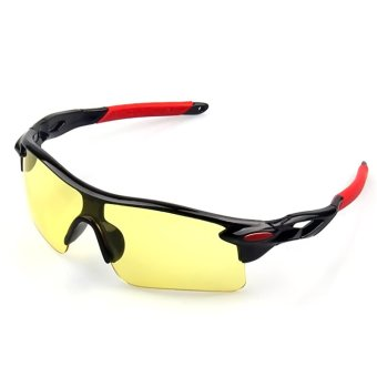 1 Pair Unisex UV400 Protection Cycling Sport Glasses Sunglasses Eyeglass for Outdoor Sports Black Frame Night Vision Lens