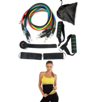 11 PCS Resistance Band Set Yoga Pilates Abs Exercise Fitness TubeWorkout Bands with Hot Shapers Slimming Waist and Abs BeltTrimmer-Cincher Girdle