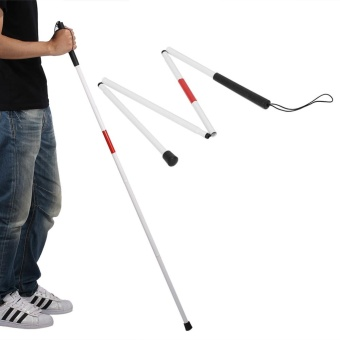 124cm Alloy Foldable Blind Cane Walking Stick 4 Sections withLuminous Strip Reflector - intl