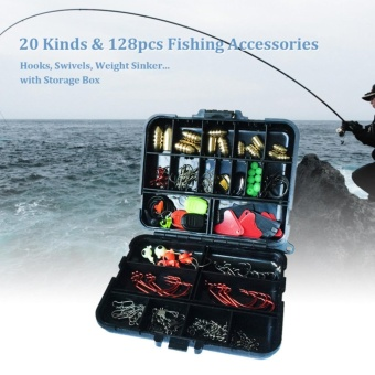 128pcs Fishing Accessories Hooks Swivels Weight Fishing Sinker Stoppers Connectors Sequins Lures Fishing Tackle Box - intl