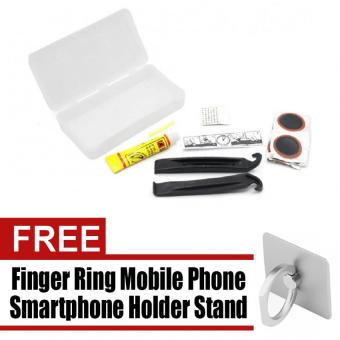 13 PCS Bike Tire Repair Kits Portable Multi Function MaintenanceTool Tire Fixing Tool Set Tyre Unit Lever Rubber Solution ColdPatch with free Finger Ring Mobile Phone Smartphone Holder Standfor iPhone (Silver)