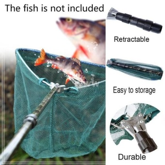 185cm Retractable Telescoping Aluminum Alloy Pole Foldable FishingBrail Landing Net Fishing Gear - intl