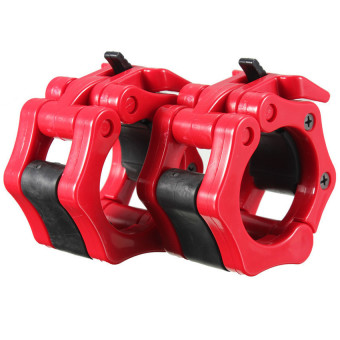 2 Lock Collars Standard Olympic Barbell Collars Weight Lifting Crossfit Gym Red - INTL - picture 2