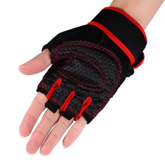 2 Pcs Gym Training Exercise Fitness Wrist Gloves (Red/L) - intl
