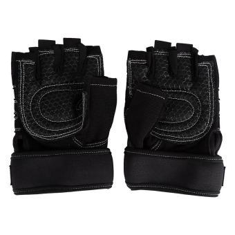 2 Pcs Weight Lifting Gym Training Fitness Gloves(Black/M) - intl - 3