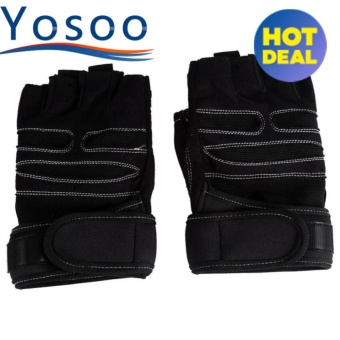 2 Pcs Weight Lifting Gym Training Fitness Gloves(Black/M) - intl
