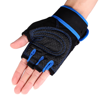 2 Pcs Weight Lifting Gym Training Fitness Gloves(Blue/L) - intl - 2