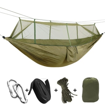 (260 * 140cm) Light Outdoor Camping Parachute Cloth Mosquito Bed Mosquito Bed Anti-rollover Field Swing Hammock (Army Green) - intl Price Philippines