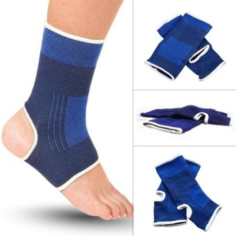 2pcs Ankle Support Brace Elastic Compression Wrap Sleeve SportsRelief Pain Foot Protection - intl