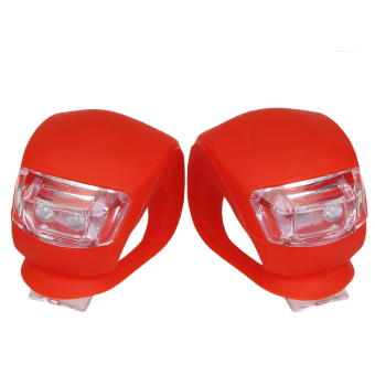 2X Silicone Bike Bicycle Cycling Head Front Rear Wheel LED FlashLight Lamp - Intl - 2