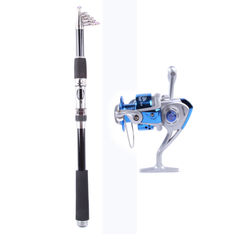 3.0M Whale Super light Portable Carbon Fishing Rod+Rocker Reel Fishing Spool Vessel Fish Reel Rod Sea Spinning Wheel Line Gear YL2000 (Blue)