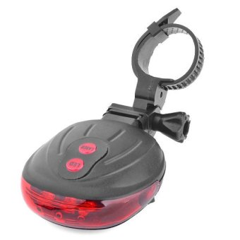 360DSC 3-LED 3-Mode Bicycle Safety Red Laser Tail Light with Clamp - Black