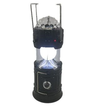 3IN1 LED Solar Camping Lamp Rechargeable Lantern with Disco Light (Black)