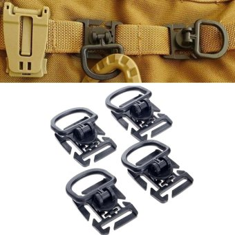 4Pcs Rotation D ring clip molle webbing clamp tactical backpackattachment strap hang military camp hike bushcraft moutain tool -intl