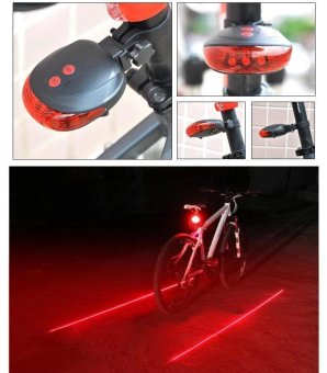 5 LED Rear Bike Bicycle Tail Light Beam Safety Warning Red Lamp-Red Line - intl