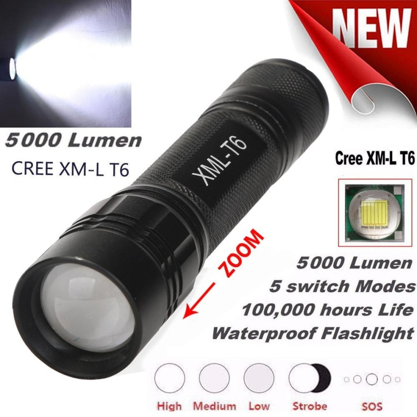 5 Modes XM-T6 Super Bright X800 Tactical Flashlight LED ZoomMilitary Torch - intl