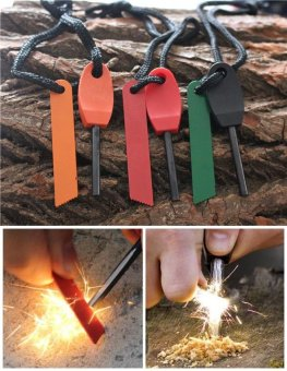 5 pcs Camping outdoor survival equipment to make fire waterproofferrocerium ribbon mini size flint magnesium rod - intl