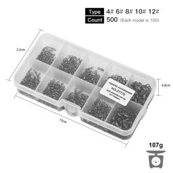 500pcs Size 4 6 8 10 12 New Rolling Barrel Fishing Swivels FishingTackle Accessory Box - intl - 5
