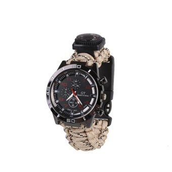 6 IN 1 Waterproof Survival Paracord Watch Compass Fire Starter Whistle - intl