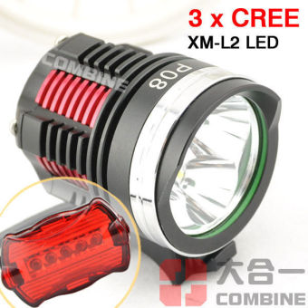 6000Lm 3X CREE XM-L2 LED Front Bicycle Head Lamp Bike LightHeadlamp Headlight