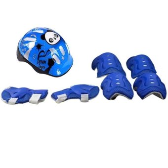 7pcs Kid Safety Set Helmet Protective Gear Elbow Wrist Knee PadsFor Skateboard Roller Skating Cycling Sport (Blue) - intl