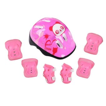 7pcs Kid Safety Set Helmet Protective Gear Elbow Wrist Knee PadsFor Skateboard Roller Skating Cycling Sport (Pink) - intl