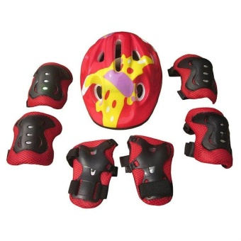 7pcs Kids Elbow Wrist Knee Pads+Helmet for Sport Skateboard RollerSkating Cycling Protective Gear Safety Set(Red) - intl