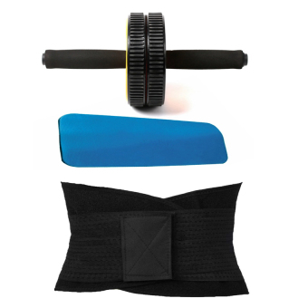 Abdominal Wheel gym Exercise Roller with Extra Thick Knee Pad matwith Miss Belt Women Waist Trainer Cincher Belt Fitness Body Shaper(Black)