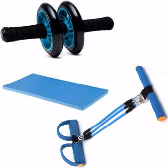 Abdominal Wheel Gym Exercise Roller with Extra Thick Knee PadMat-for Best Abs Workout-perfect Fitness Equipment (Blue) With BodyResistance Training Bands Pull Up Body Trimmer Pedal Excercise(Color May vary)