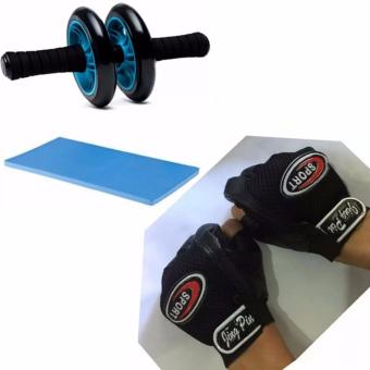 Abdominal Wheel Gym Exercise Roller with Extra Thick Knee PadMat-for Best Abs Workout-perfect Fitness Equipment (Blue) with XZY-Jing Pin Sport Half Finger Cycling Gloves (Black)