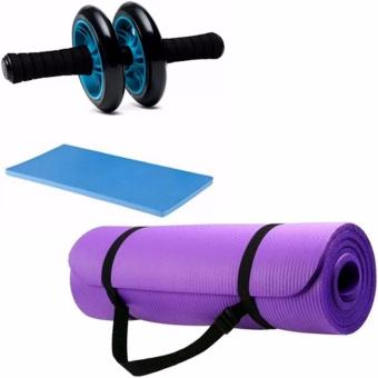Abdominal Wheel Gym Exercise Roller with Extra Thick Knee PadMat-for Best Abs Workout-perfect Fitness Equipment (Blue)With ExtraThick High Density Anti-Tear Exercise Yoga Mat with Carrying Strap(Violet) 10mm