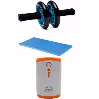 Abdominal Wheel Gym Exercise Roller with Extra Thick Knee PadMat-for Best Abs Workout-perfect Fitness Equipment(Blue) WithPowerbank 20000mAh Price Philippines
