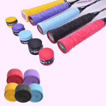 Absorb Sweat Anti Slip Badminton Racket PU Tape Tennis Racket Grip Tape Overgrip Red - intl