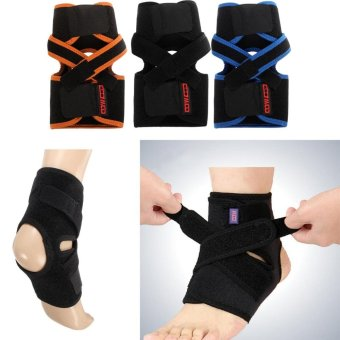 Adjustable Ankle Foot Support Elastic Brace Guard Football Basketball Protectors Easy wearing(Black) - intl