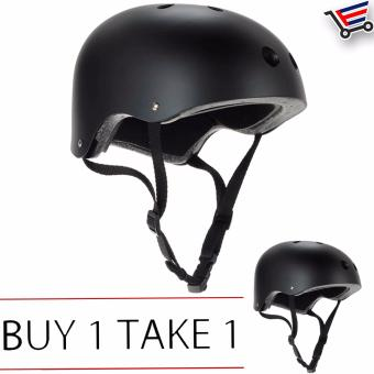 Adjustable Bmx Nutshell Bike Cycling Protective Helmet (Black) Buy1 Take 1