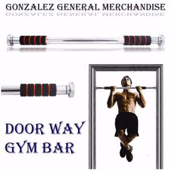 Adjustable Door Way Pull Up Gym Bar (Black/Orange) with Push Up Stand (Black/Blue) - 2