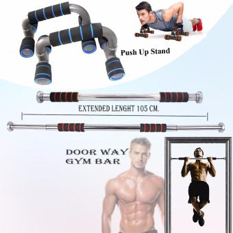 Adjustable Door Way Pull Up Gym Bar (Black/Orange) with Push Up Stand (Black/Blue)