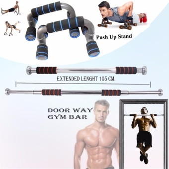 Adjustable Door Way Pull Up Gym Bar (Black/Orange) with Push UpStand (Black/Blue)