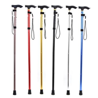 Adjustable Foldable Walking Trekking Hiking Stick Cane CrutchAlpenstock - intl