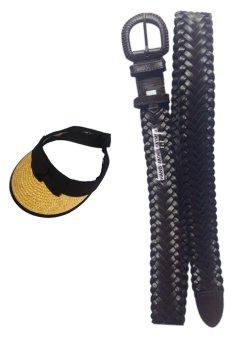 Aetna Hand Made Leather Belt with Golf Visor (Brown) Bundle