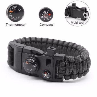 Amart Outdoor 15 in 1 Survival Flint Fire Starter Paracord Whistle Gear Buckle Camping Ignition Rescue Rope Escape Bracelet - intl