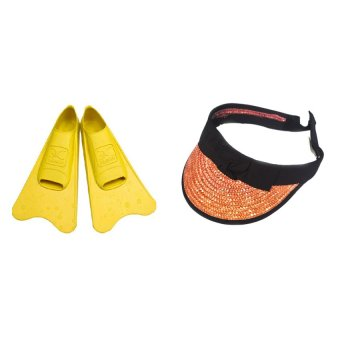 Aquwin Floating Fins (Yellow) with Golf Visor (Orange) Bundle - picture 2