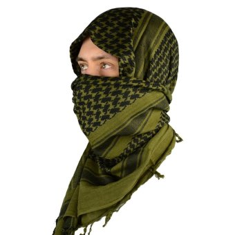 Arabic Scarf Military Neck Gaiter Tactical Scarves Muslim HijabWindproof Desert Shemagh Arab Keffiyeh - intl
