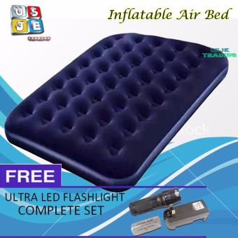 Bestway Inflatable Single Person Air Bed ( Blue) with Air Pump and with FREE Ultra Led Flash Light (Set)